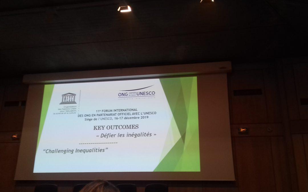 """""""Défier les inégalités"""" – Onzième Forum international des ONG en partenariat officiel avec l'UNESCO"""